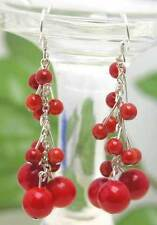 SALE GENUINE 4-7mm Round Red Coral Grape Dangle Earrings & Silver S925-ear103