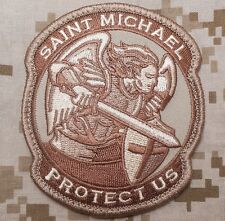 MODERN SAINT ST. MICHAEL PROTECT US USA ARMY DESERT VELCRO® BRAND FASTENER PATCH