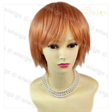 STRIKING Light Orang Short Ladies Wigs Cosplay Party Hair from WIWIGS UK