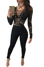 Black Lace-up Hollow-out Long Sleeves Fitted Jumpsuit Catsuit Size UK 8-10