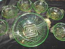 VINTAGE ART DECO SEVEN PIECE GREEN GLASS FRUIT SET-BROCKWITZ-STOLZLU?????