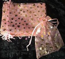 50 LARGE PRETTY PINK with GOLD HEARTS ORGANZA GIFT FAVOUR BAGS 18cm X 13cm