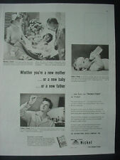 1951 Inco Nickel Woman New Born Baby Infant in Hospital Vintage Print Ad 12213