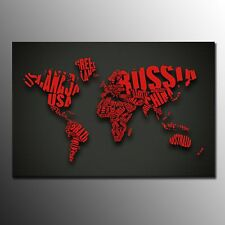 Canvas Print For Home Decor Red World Map Wall Art Canvas Painting -No Frame