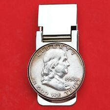 US 1958 Franklin Half Dollar 90% Silver Coin Hinged Money Clip NEW