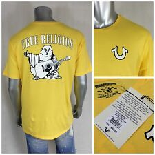 NWT $68 True Religion TR Men`s Buddha Logo Yellow T-shirt Short Sleeve Sz 2XL
