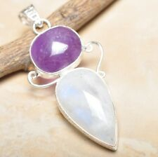 "Fire White Rainbow Moonstone Opal 925 Sterling Silver 2.5"" Pendant #P14338"