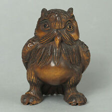 "1940's Japanese Boxwood Wood Netsuke ""cool owl"" Figurine Carvin owl02"