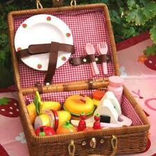 Mother Garden Strawberry Rattan basket picnic set Party pretend play wood toys
