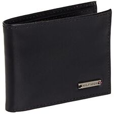 New Tommy Hilfiger Mens Leather Front Pocket Wallet w Money Clip & Valet