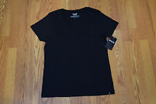 NWT Womens Hurley Short Sleeve Black Solid Perfect V-Neck Shirt Size M Medium