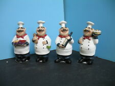 4 pcs cooking FAT Chef figurine BISTRO DECOR home NEW Bar set kitchen .