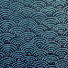 [Precut] 48x55cm Seigaiha Navy / Blue Japanese Cotton Fabric Remnant - PC777