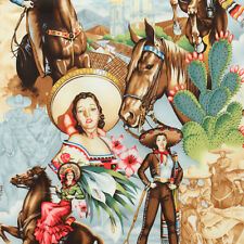 Alexander Henry CHARRAS Novelty Mexican Cowgirl Pin Up Fabric - Natural
