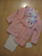 Baby girl matching dressing gown, pyjamas and teddy bear set 12-18 months, gift