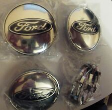 FORD CHROME ALLOY WHEELS CENTER CAPS SET (4) RED Face 60 MM CLIP 58MM