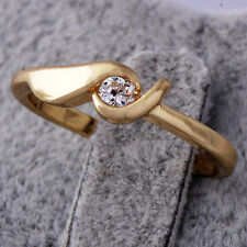Womens 18K Yellow Gold Plated White Sapphire Stackable Thin Band Ring Size 7.5