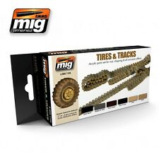 Ammo of Mig TIRES AND TRACKS Acrylic Colors Set 6 Jars 17ml #7105