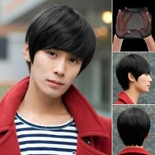 Mens Handsome Short Straight Cosplay Party Hair Wig Full Wigs + Wig Cap Set