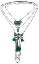 Bohemian silver plated multi-layer long chain turquoise bull pendant necklace