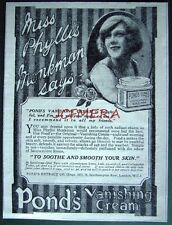 1921 'PONDS' Vanishing Cream Toiletries ADVERT - Small Cosmetics Print Ad