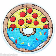 Doughnut Pizza Donut Tomato Food Sweet Chocolate Toppings Iron-On Patches #F015