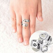 Fashion Love Heart Dog Paw Open Ring Adjustable Party Women Girl Jewelry