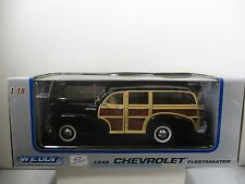 1/18 SCALE WELLY BLACK / WOOD 1948 CHEVROLET FLEETMASTER