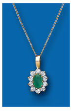 "Yellow Gold Real Emerald Cluster Pendant With 18"" Chain  UK Made - Hallmarked"