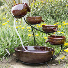 Ceramic Solar Water Fountain Garden Zen Free Standing Weather Reddish Brown