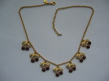 Necklace Joan Rivers Cherry Clusters / Cherries Clear Stones Goldtone 21 inch