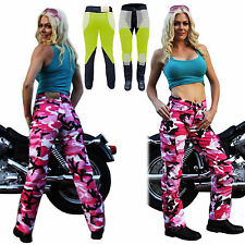 NEW LADYS MOTORCYCLE PINK CAMO REINFORCED WITH DuPont™ KEVLAR® JEANS 6 - 22