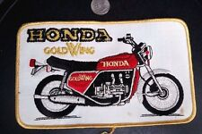 "Vtg cloth embroidered patch Honda Goldwing motorcycle 1970's large 8""  jacket"