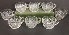 Antique EAPG Punch Cup Lot of 8 - Mixed Patterns Aztec Slewed Horseshoe Unknowns