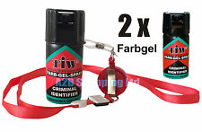 2 x Farb Gel Security Red Pocket Self-Defence Protection Safety Safe Portable