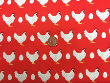 RED CHICKENS LILA'S KITCHEN MAKOWER 100% COTTON FABRIC FAT QUARTER