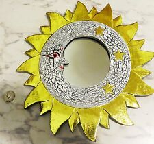 "Hand-Carved/Painted Wooden MOON & SUN Mirror - Celestial Craft - 14.5"" Round"