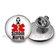 School Nurse Brooch Pin Tie Tack 20m Glass Dome Nursing Occupation Jewelry