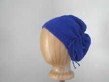 Gathered Slouch Hat Royal Purple Scrunch Hat Slouchy Beanie,Drawstring Bow Knit
