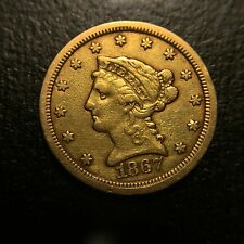 1867 S Liberty Head $2.5 Gold Quarter Eagle XF $2 1/2 Dollar Extremely Fine