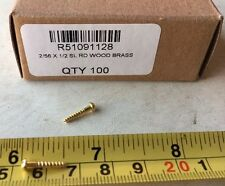 "Quantity of 100 Brass Slotted Head Wood Screw 1/2"" Qty 100"