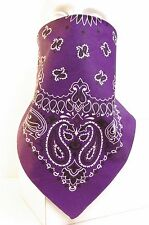 Purple Paisley fleece lined motorcycle skiing face mask bandana