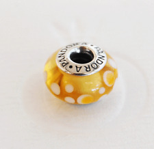 "Genuine Pandora Murano Glass Bead ""Yellow Bubbles"" 790687 - retired"