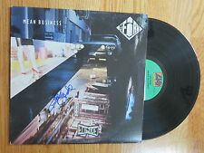 CHRIS SLADE of THE FIRM signed MEAN BUSINESS 1985 Record / Album COA AC / DC