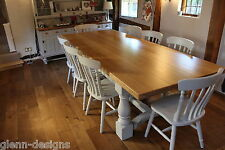 8,10 seater Large Tudor Style Dining Table, Chunky 54mm Solid Oak top,Any colour