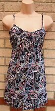 H&M STRAPPY MULTI COLOR BLACK TRIBAL AZTEC LONG TUNIC TOP BLOUSE CAMI VEST 8 S