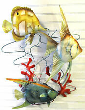 Tropical Fishes in the coral hand made  Metal Wall Decor Art