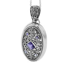 Sterling Silver Bali Amazthyst Floal Filigree Women's Pendant/Necklace 18""