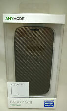 Anymode Folio Cover Case for Samsung Galaxy SIII S3 Carbon Fiber Gray Brown NEW