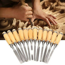 Hot 12PCS Wood Carving Hand Chisel Set Woodworking DIY Lathe Gouges Works Tools